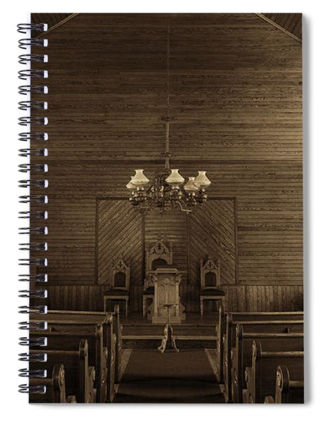 Union Christian Church Sanctuary - Sepia Spiral Notebook