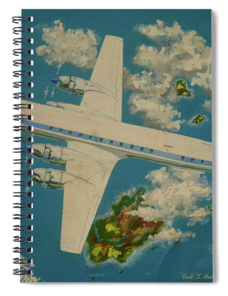 United Airlines Dc-6 Over The Islands Spiral Notebook