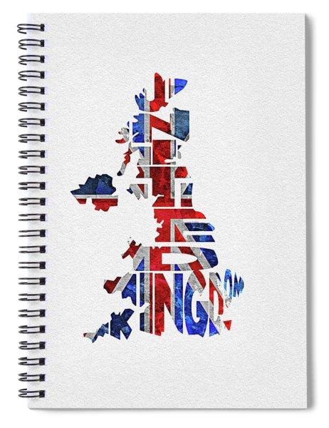 United Kingdom Typographic Kingdom Spiral Notebook