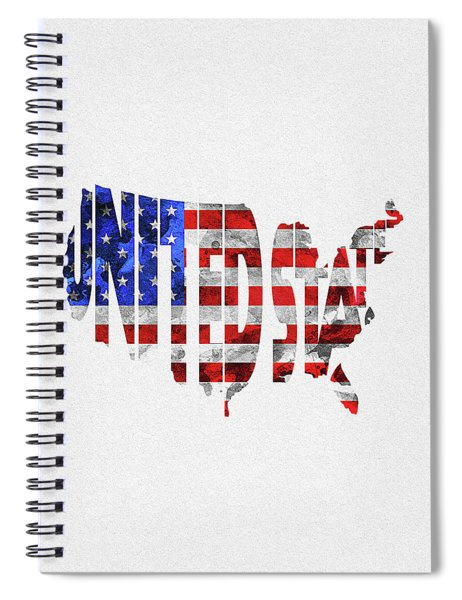 United States Typographic Map Flag Spiral Notebook