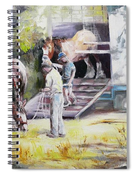 Unloading The Clydesdales Spiral Notebook