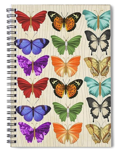 Colourful Butterflies Collage Spiral Notebook