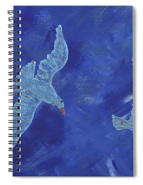 Spiral Notebook featuring the painting Up In The Sky by Manuel Sueess