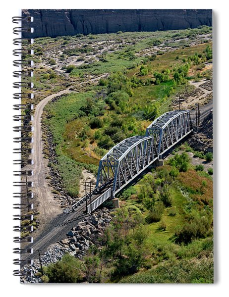 Spiral Notebook featuring the photograph Up Tracks Cross The Mojave River by Jim Thompson