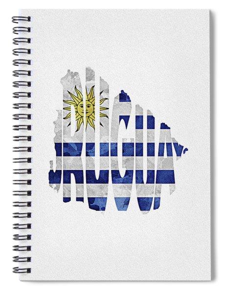 Uruguay Typographic Map Flag Spiral Notebook