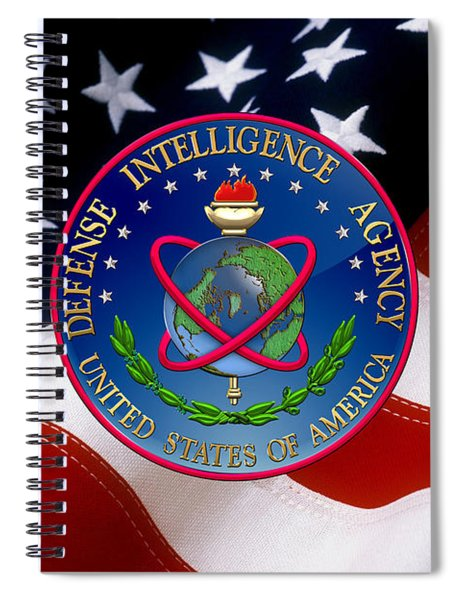 U. S. Defense Intelligence Agency - D I A Emblem Over Flag Spiral Notebook