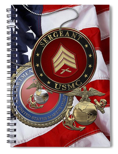 U. S. Marines Sergeant - U S M C Sgt Rank Insignia Over American Flag Spiral Notebook