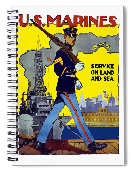 U.s. Marines - Service On Land And Sea Spiral Notebook