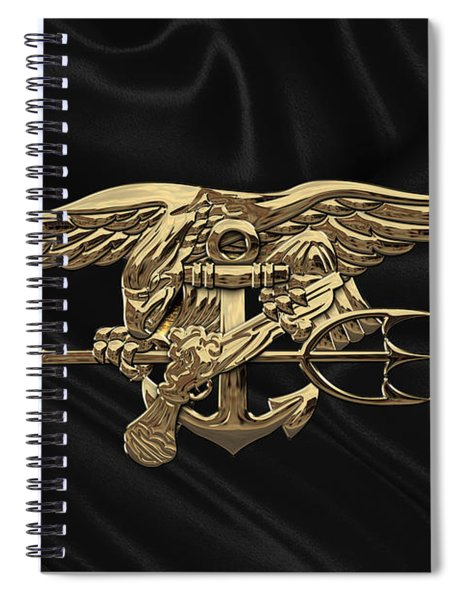U.s. Navy Seals Trident Over Black Flag Spiral Notebook