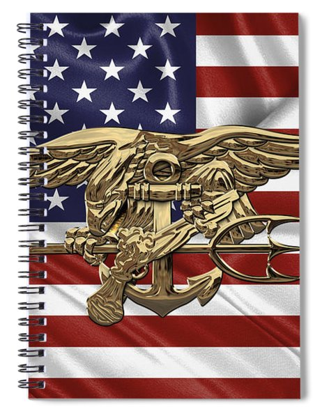 U.s. Navy Seals Trident Over U.s. Flag Spiral Notebook