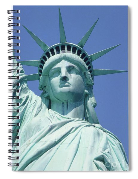 Usa, New York, Statue Of Liberty, Upper Section, Low Angle View Spiral Notebook