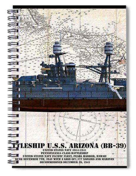 Uss Arizona Bb-39 Profile Art Spiral Notebook