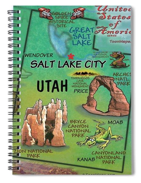 Utah Fun Map Spiral Notebook