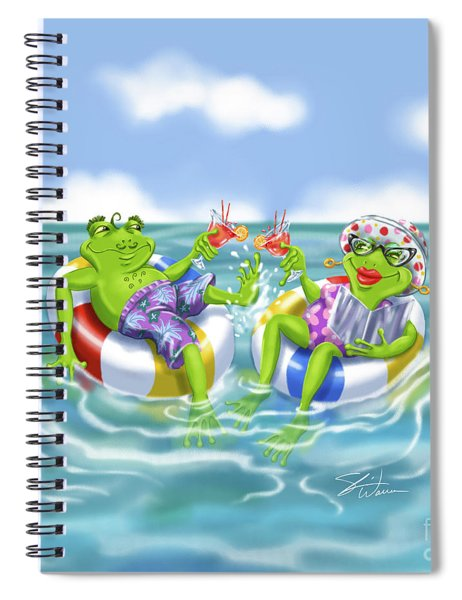 Vacation Happy Frog Couple Spiral Notebook