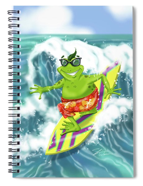 Vacation Surfing Frog Spiral Notebook