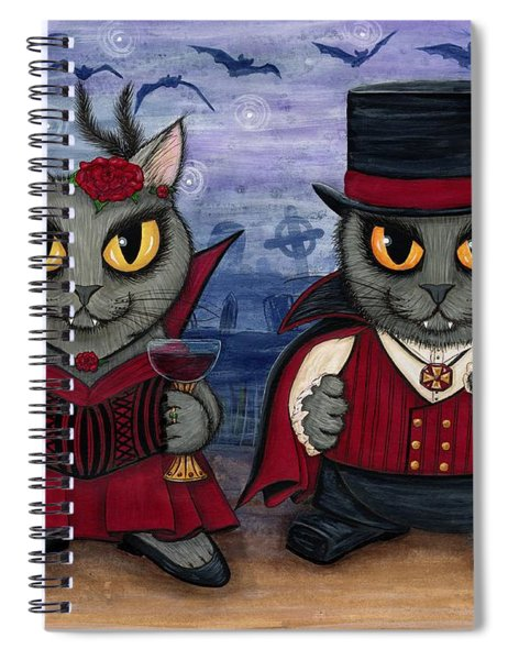 Vampire Cat Couple Spiral Notebook