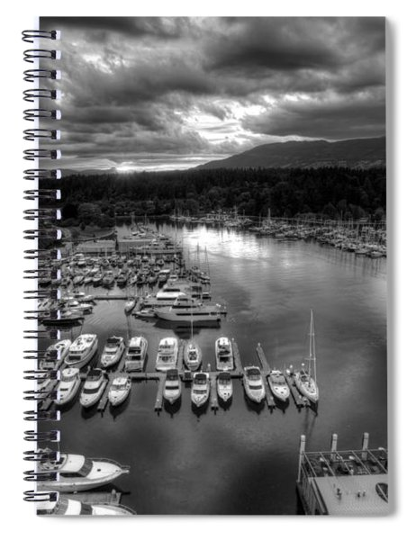 Vancouver Marina Sunset Spiral Notebook