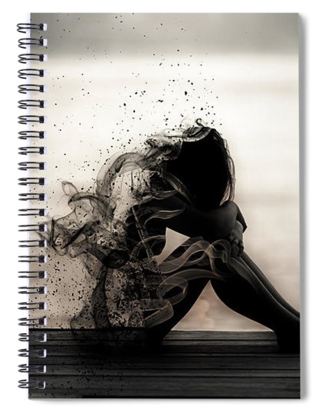 Spiral Notebook featuring the digital art Vapours Of Sadness by ISAW Company