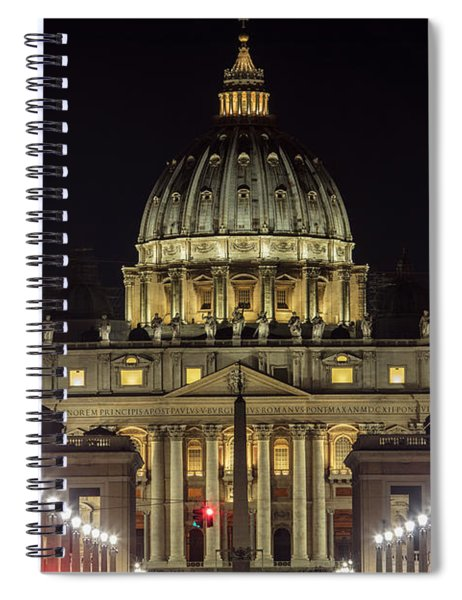 Vatican At Night With Lights  Spiral Notebook