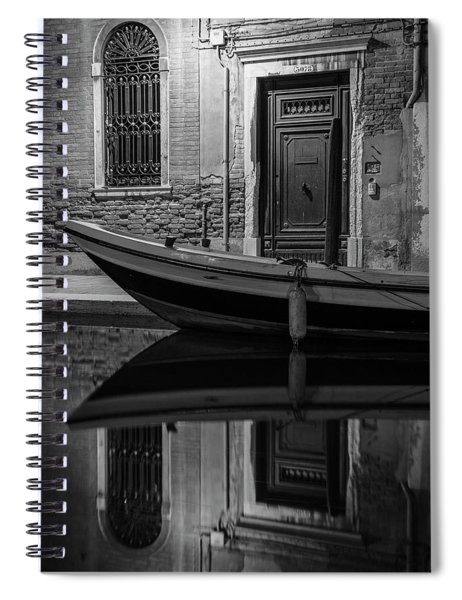 Venice Canal Reflection At Night  Spiral Notebook