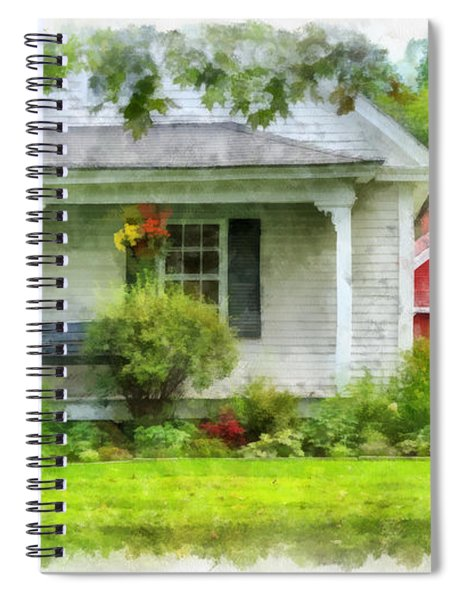 Vermont Farm House Kent Corner Watercolor Spiral Notebook by Edward Fielding