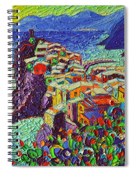 Vernazza Cinque Terre Italy 2 Modern Impressionist Palette Knife Oil Painting By Ana Maria Edulescu  Spiral Notebook
