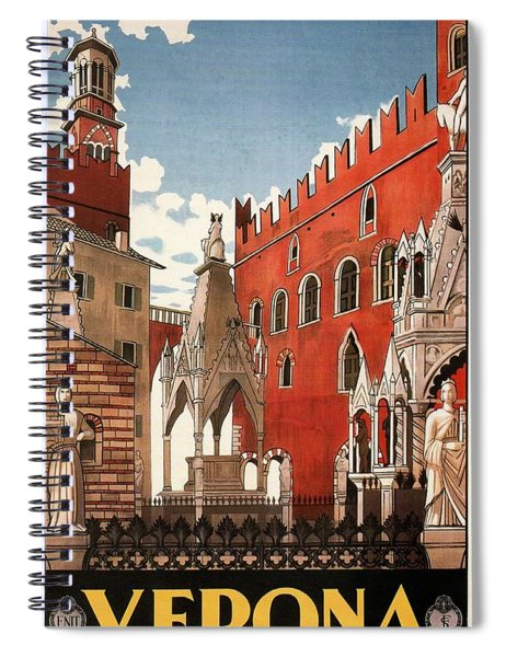 Verona, Italy - Building And Monuments - Retro Travel Poster - Vintage Poster Spiral Notebook