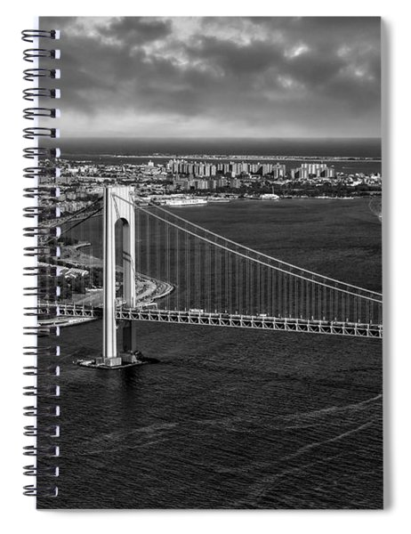 Verrazano Narrows Bridge Nyc Bw Spiral Notebook