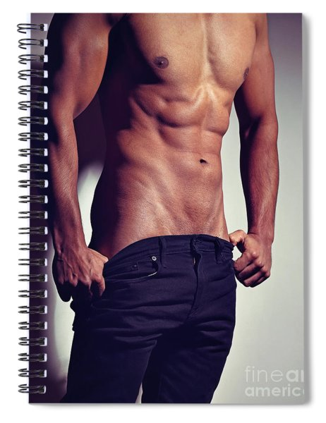 Very Sexy Man With Great Muscular Body Spiral Notebook