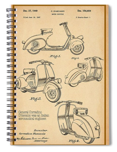 Vespa Patent Drawing Spiral Notebook