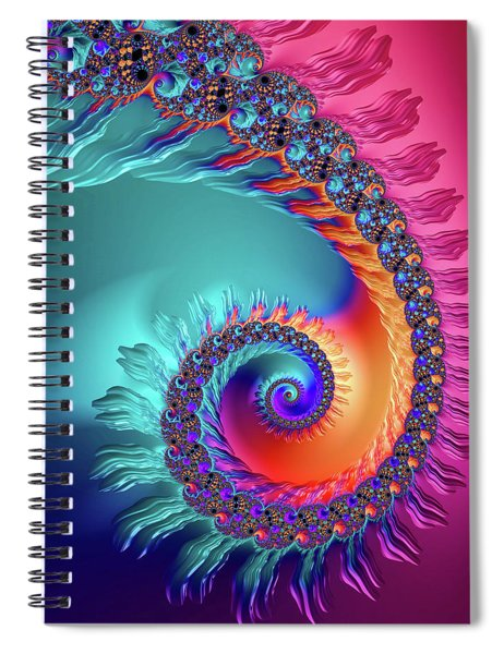 Vibrant And Colorful Fractal Spiral  Spiral Notebook