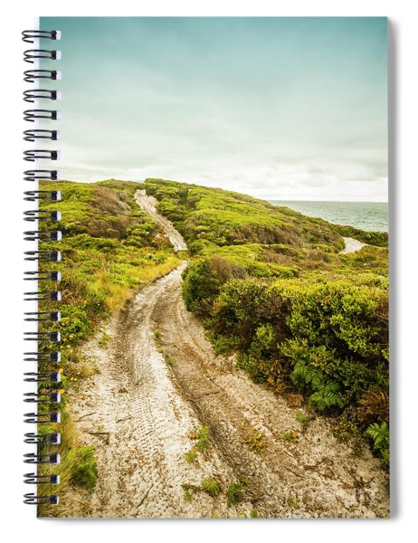 Vibrant Green Hills And Ocean Tracks Spiral Notebook