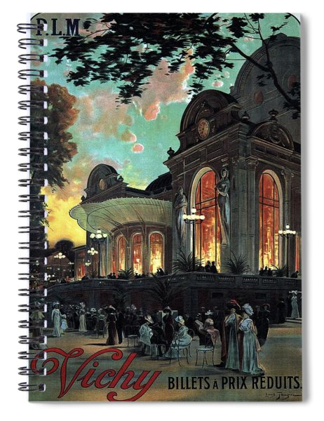 Vichy, France - Billets A Prix Reduits - Retro Travel Poster - Vintage Poster Spiral Notebook