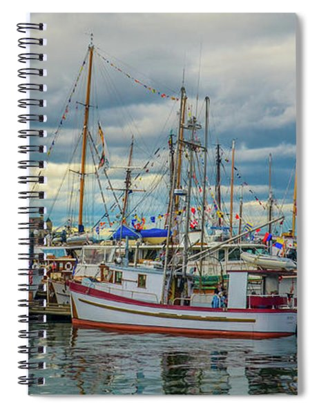 Victoria Harbor Boats Spiral Notebook