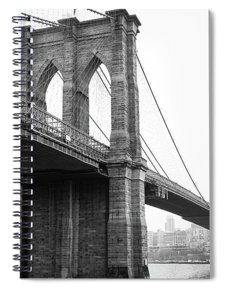 View Brooklyn Bridge With Foggy City In The Background Spiral Notebook