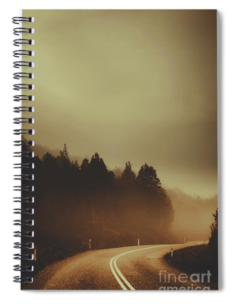 View Of Abandoned Country Road In Foggy Forest Spiral Notebook