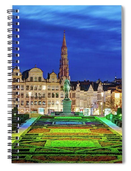 Spiral Notebook featuring the photograph View Of Brussels From Jardin Du Mont Des Arts by Barry O Carroll