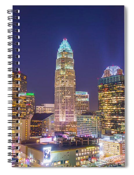 View Of Charlotte Skyline Aerial At Sunset Spiral Notebook