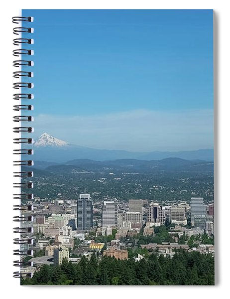 Spiral Notebook featuring the photograph View Of Downtown Portland Oregon From Pittock Mansion by Robert Bellomy
