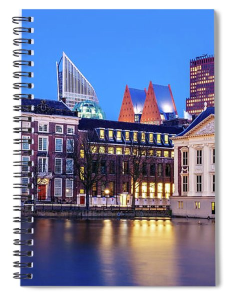 Spiral Notebook featuring the photograph View Of Mauritshuis And The Hofvijver - The Hague by Barry O Carroll