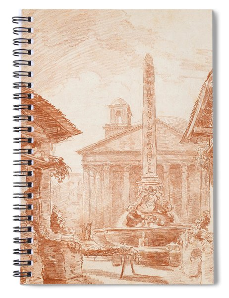View Of The Piazza Della Rotonda In Rome With The Tritons Fountain And The Pantheon Facade Spiral Notebook