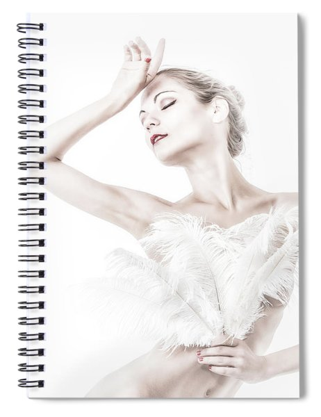 Viktory In White - Feathered Spiral Notebook
