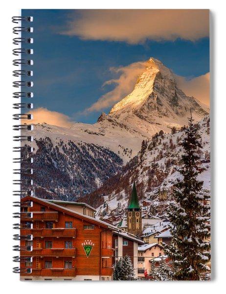 Village Of Zermatt With Matterhorn Spiral Notebook