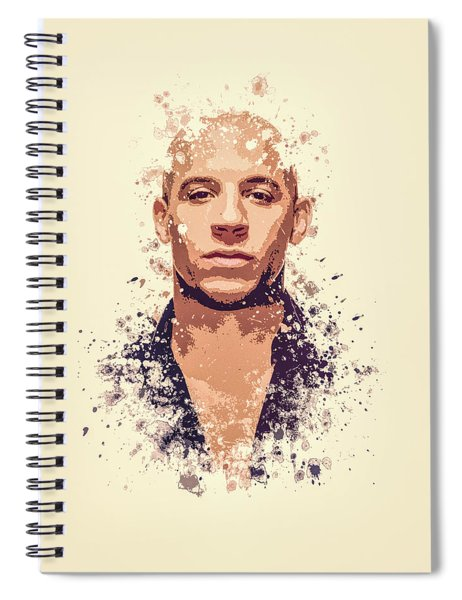 Vin Diesel Splatter Painting Spiral Notebook
