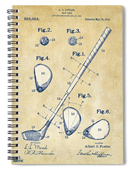 Vintage 1910 Golf Club Patent Artwork Spiral Notebook