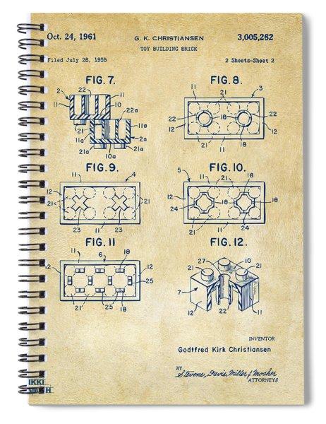 Vintage 1961 Lego Brick Patent Art Spiral Notebook