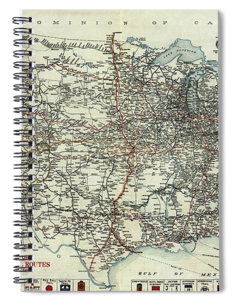 Vintage Aaa Map Of Us Transcontinental Routes - 1918 Spiral Notebook