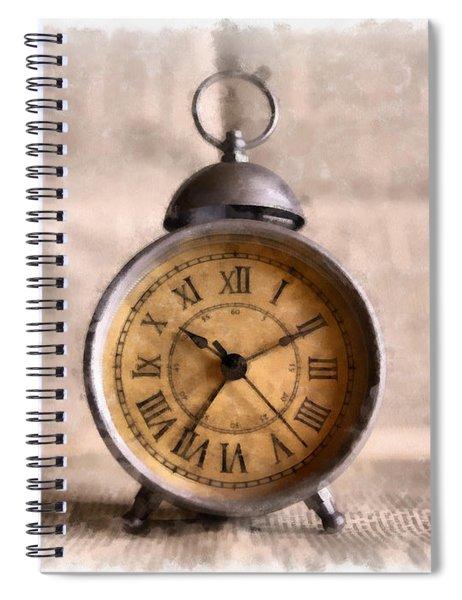 Vintage Alarm Clock Watercolor Spiral Notebook