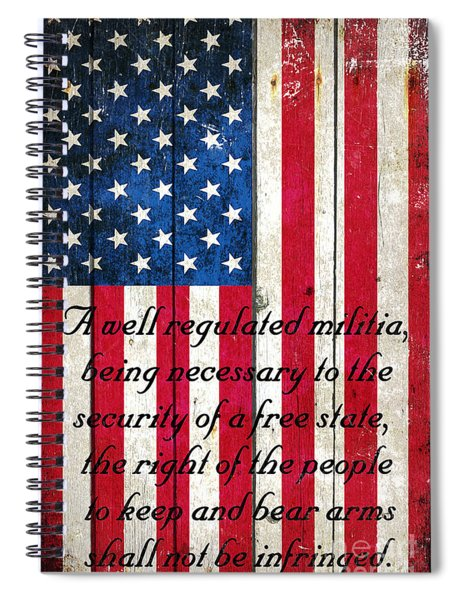 Vintage American Flag And 2nd Amendment On Old Wood Planks Spiral Notebook