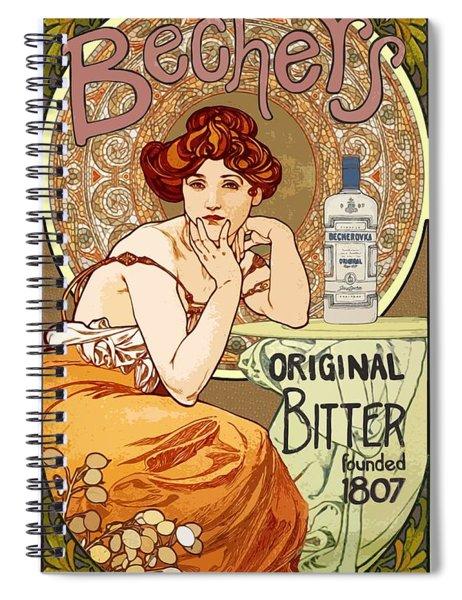 Vintage Art Nouveau Bechers Original Bitter 1807 Spiral Notebook